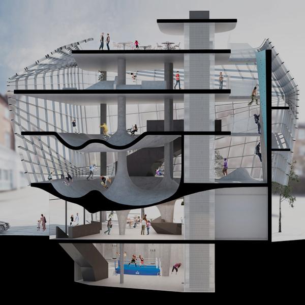 El primer Skatepark en un edificio de 5 plantas